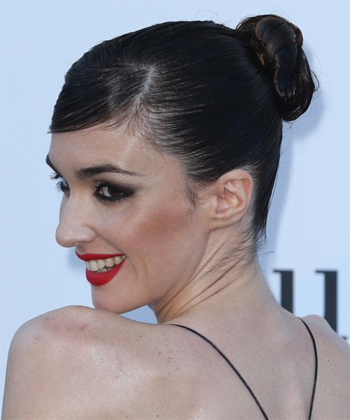 Paz Vega Straight Formal Updo Hairstyle - side view