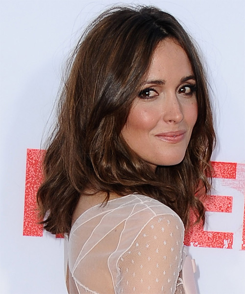 Rose Byrne Medium Wavy Casual  - Medium Brunette - side view