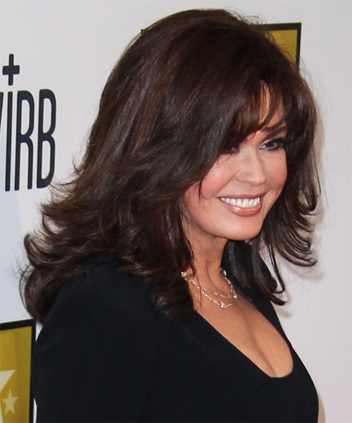 Marie Osmond Medium Straight Formal  with Layered Bangs - Dark Brunette (Mocha) - side view