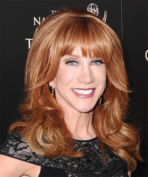 Kathy Griffin Long Straight Formal Hairstyle with Blunt Cut Bangs - Medium Red (Copper) Hair Color - side view