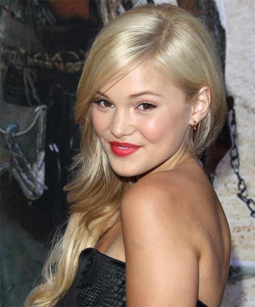 Olivia Holt Long Straight Hairstyle - Light Blonde - side view