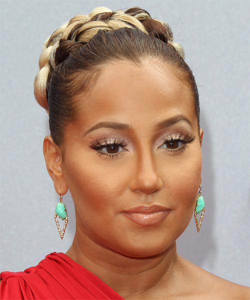 Adrienne Bailon Formal Straight Updo Hairstyle - side view 1