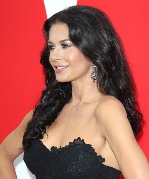 Catherine Zeta Jones Long Wavy Hairstyle - side view