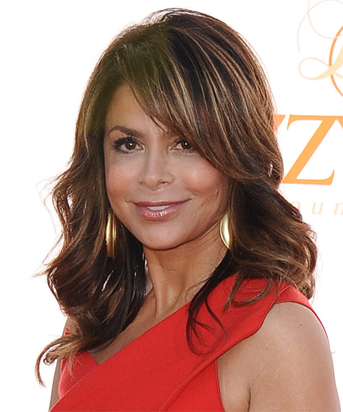 Paula Abdul Long Wavy Hairstyle (Auburn) - side view 1