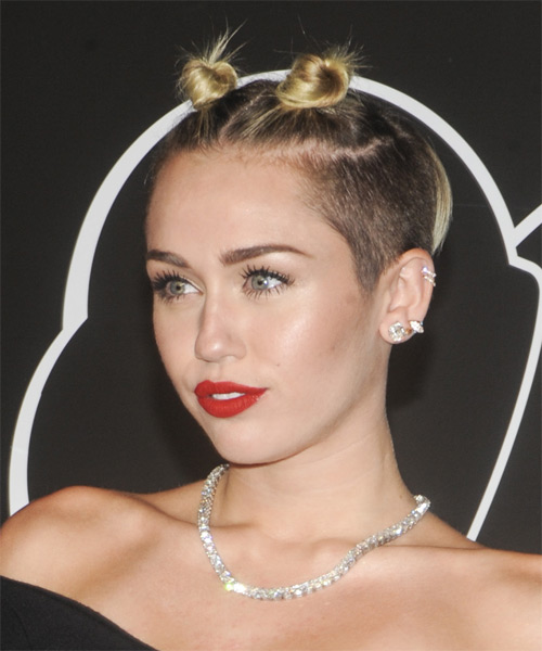 Miley Cyrus Alternative Straight Updo Hairstyle - side view 1