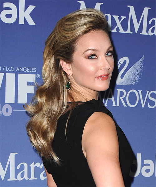 Elisabeth Rohm Half Up Long Curly Formal Half Up Hairstyle - side view