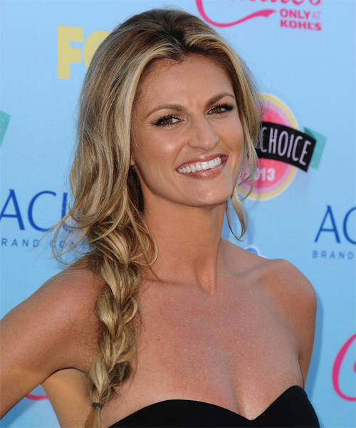Erin Andrews Half Up Long Curly Hairstyle - side view 1