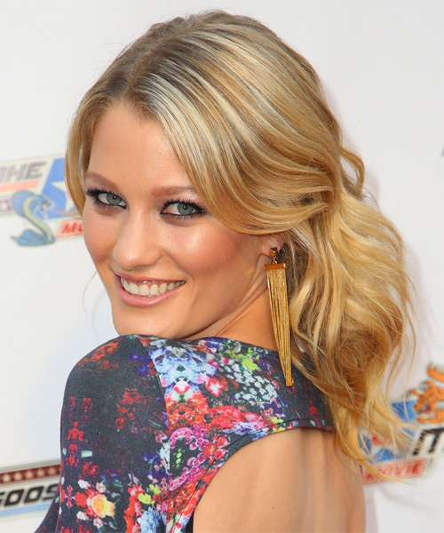 Ashley Hinshaw Half Up Long Curly Formal Half Up Hairstyle - side view