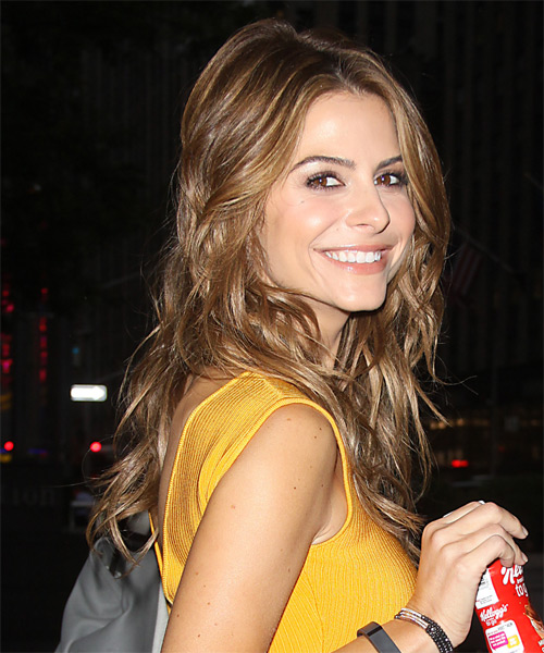 Maria Menounos Long Wavy Casual Hairstyle - Light Brunette Hair Color - side view