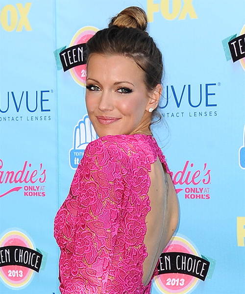 Katie Cassidy Casual Straight Updo Hairstyle - side view 1