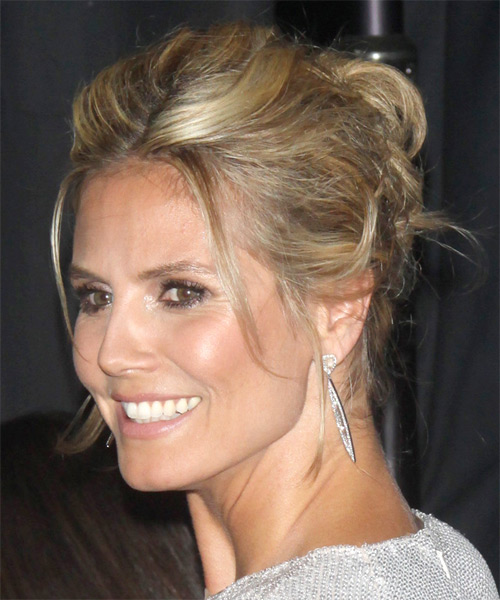 Heidi Klum Updo Long Straight Casual Updo Hairstyle - side view