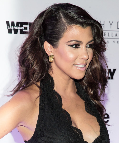 Kourtney Kardashian Long Straight Hairstyle - side view