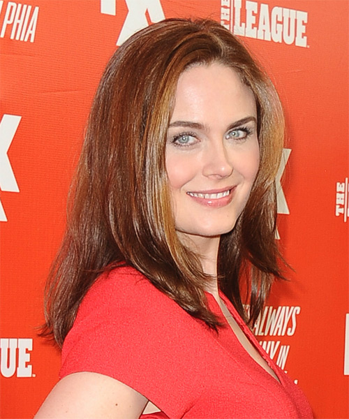 Emily Deschanel Medium Straight Hairstyle - Medium Brunette (Copper) - side view