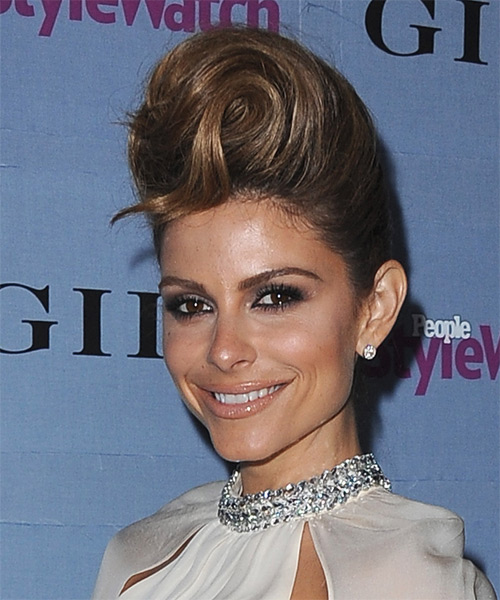 Maria Menounos Formal Straight Updo Hairstyle - side view 1