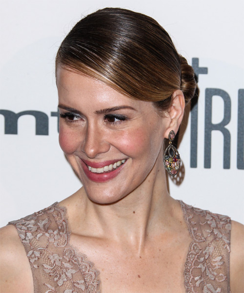 Sarah Paulson Formal Straight Updo Hairstyle - side view 1