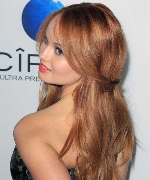 Debby Ryan Half Up Long Straight Casual Half Up Hairstyle - side view