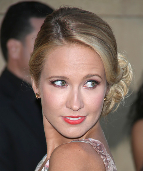 Anna Camp Curly Formal Updo Hairstyle - side view