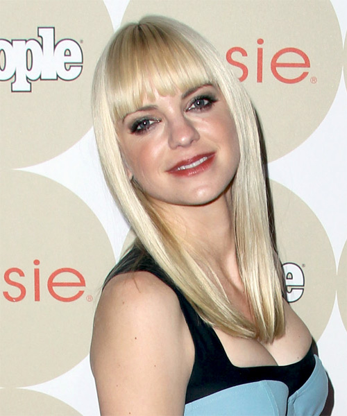 Anna Faris Long Straight Hairstyle - Light Blonde (Platinum) - side view