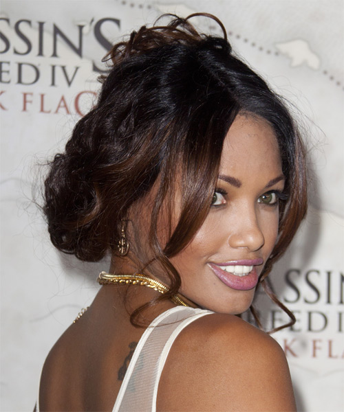 K D Aubert Curly Casual Updo Hairstyle - Dark Brunette Hair Color - side view