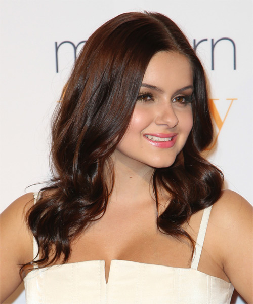 Ariel Winter Long Wavy Hairstyle - Medium Brunette (Burgundy) - side view
