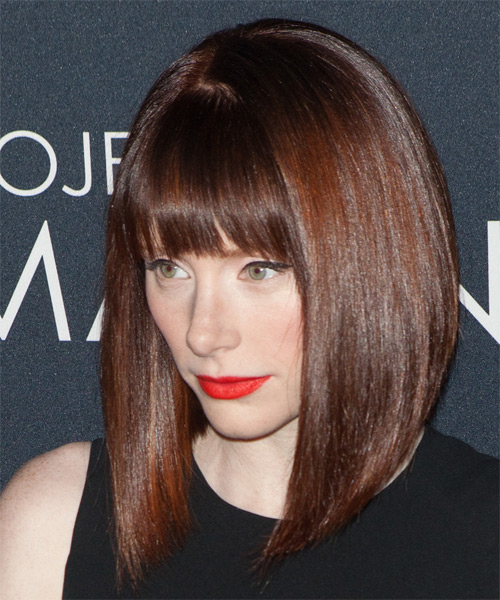 Bryce Dallas Howard Medium Straight Formal Bob Hairstyle with Blunt Cut Bangs - Medium Brunette (Mocha) Hair Color - side view
