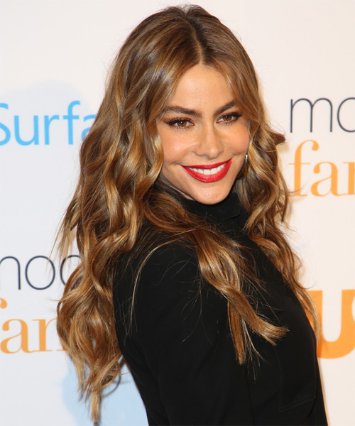 Sofia Vergara Long Wavy Hairstyle - Medium Brunette (Auburn) - side view