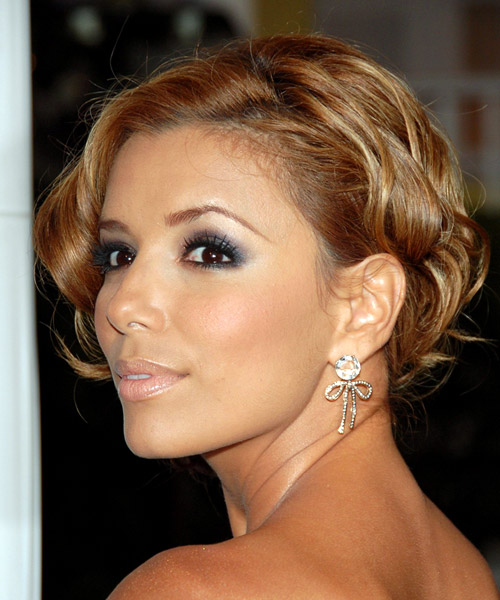 Eva Longoria Parker Updo Long Curly Formal Wedding - Light Brunette (Auburn) - side view