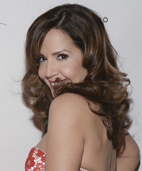 Maria Canals Barrera Long Curly Formal Hairstyle with Side Swept Bangs - Medium Brunette Hair Color - side view