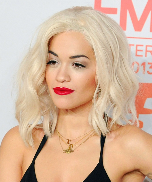 Rita Ora Medium Wavy Hairstyle - Light Blonde (Platinum) - side view 1
