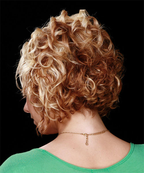 Medium Curly Formal Hairstyle with Side Swept Bangs - Medium Blonde (Copper) Hair Color - side view