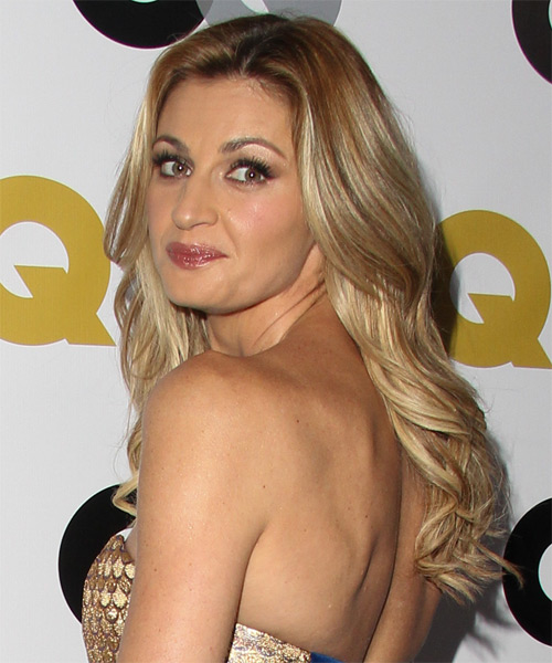 Erin Andrews Long Straight Hairstyle - Medium Blonde - side view