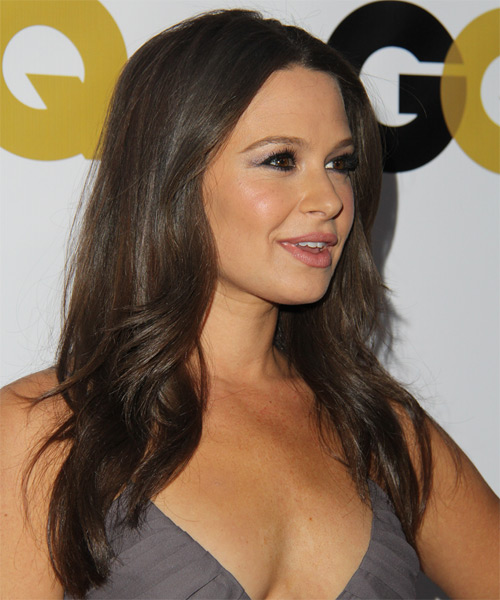 Katie Lowes Long Straight Hairstyle - Medium Brunette (Ash) - side view 1