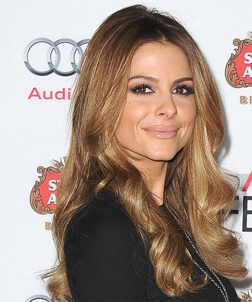 Maria Menounos Long Wavy Hairstyle - Medium Brunette (Chestnut) - side view