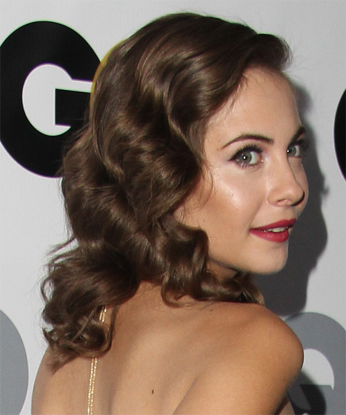 Willa Holland Medium Wavy Hairstyle - Medium Brunette (Ash) - side view