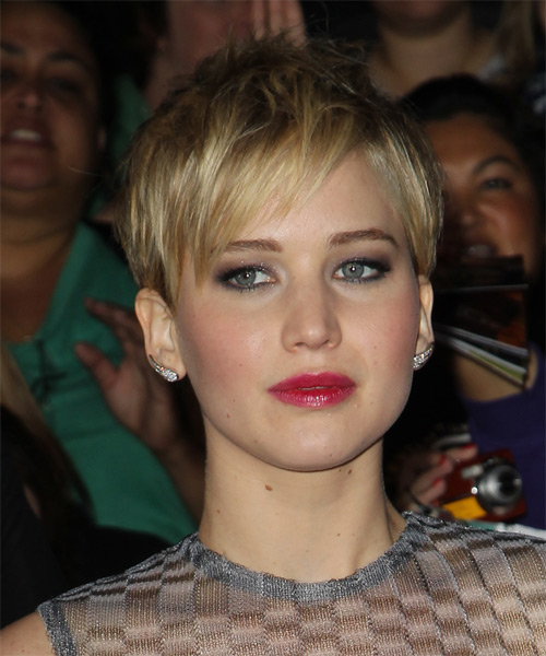 Jennifer Lawrence Short Straight Casual Pixie Hairstyle with Side Swept Bangs - Medium Blonde (Golden) Hair Color - side view