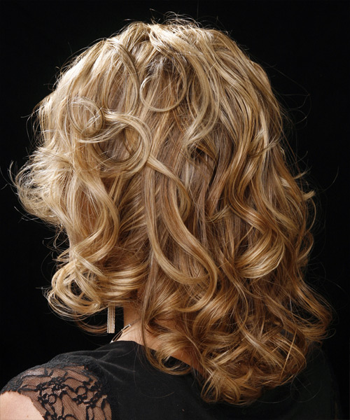 Long Curly Formal Hairstyle - Dark Blonde - side view 1
