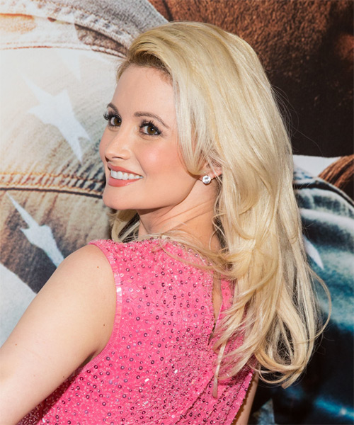 Holly Madison Long Straight Hairstyle - Medium Blonde (Golden) - side view