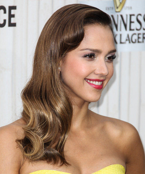 Jessica Alba Long Wavy Formal Hairstyle - Dark Brunette (Chestnut) Hair Color - side view