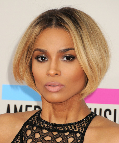 Ciara Short Straight Bob Hairstyle - Dark Blonde - side view 1
