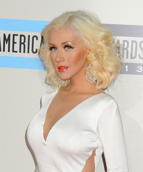Christina Aguilera Medium Curly Hairstyle - Light Blonde - side view