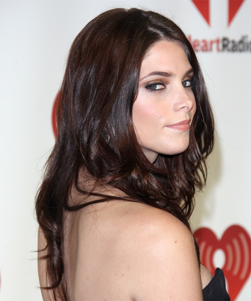 Ashley Greene Long Straight Hairstyle - Medium Brunette (Chocolate) - side view 1