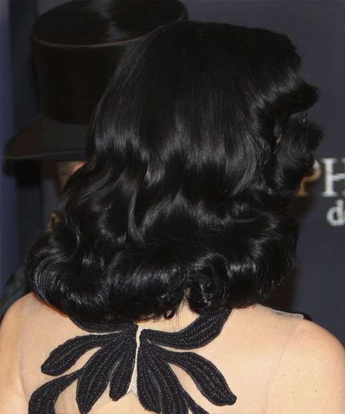 Dita Von Teese Medium Wavy Hairstyle - Black - side view