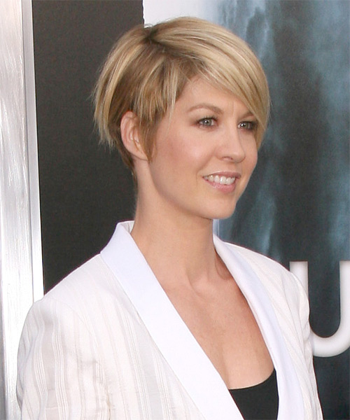 Jenna Elfman Short Straight Hairstyle - Medium Blonde (Golden) - side view