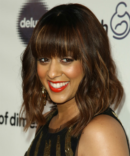 Tia Mowry Medium Wavy Hairstyle - Medium Brunette (Chocolate) - side view