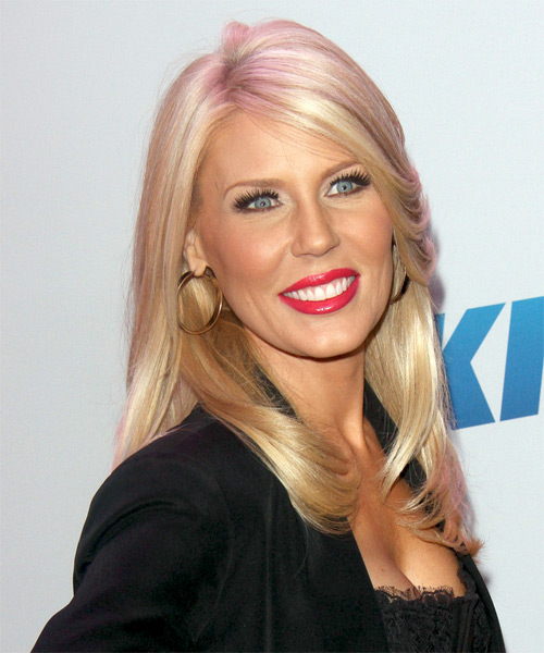 Gretchen Rossi Long Straight Hairstyle - Medium Blonde (Strawberry) - side view 1