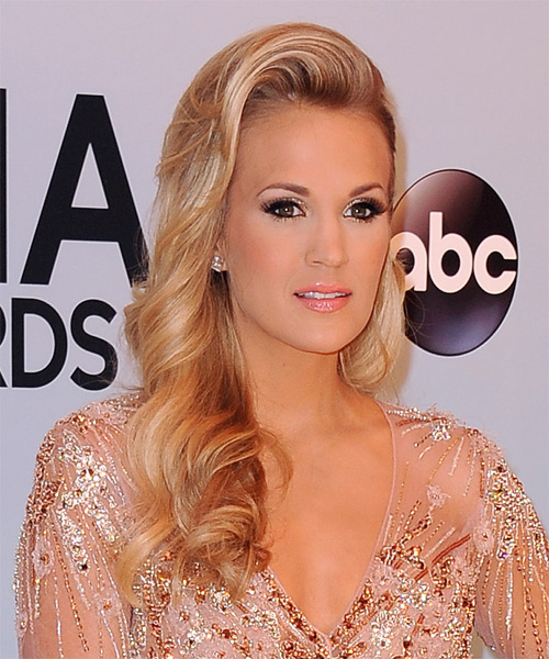 Carrie Underwood Long Wavy Hairstyle - Medium Blonde (Honey) - side view 1