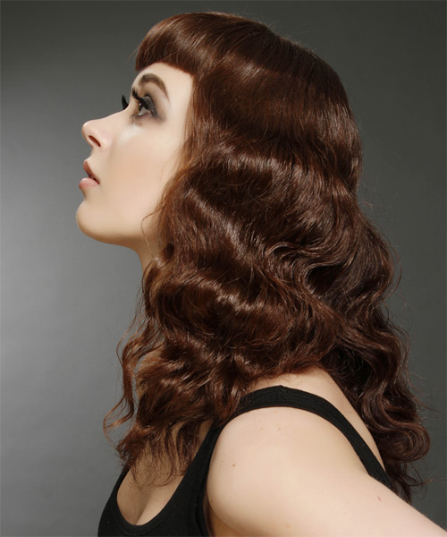 Long Wavy Alternative  with Layered Bangs - Medium Brunette (Chocolate) - side view