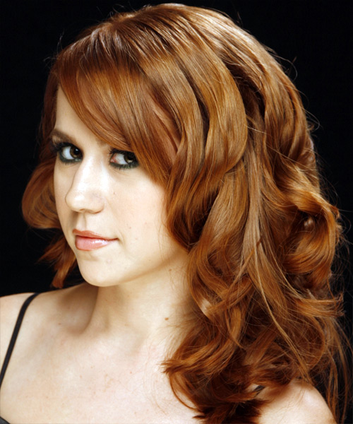 Long Wavy Formal Hairstyle - Medium Brunette (Auburn) Hair Color - side view