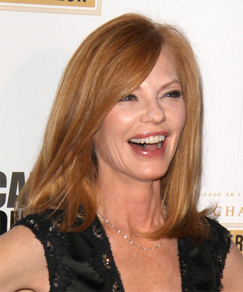 Marg Helgenberger Medium Straight Hairstyle - Medium Red (Ginger) - side view 1