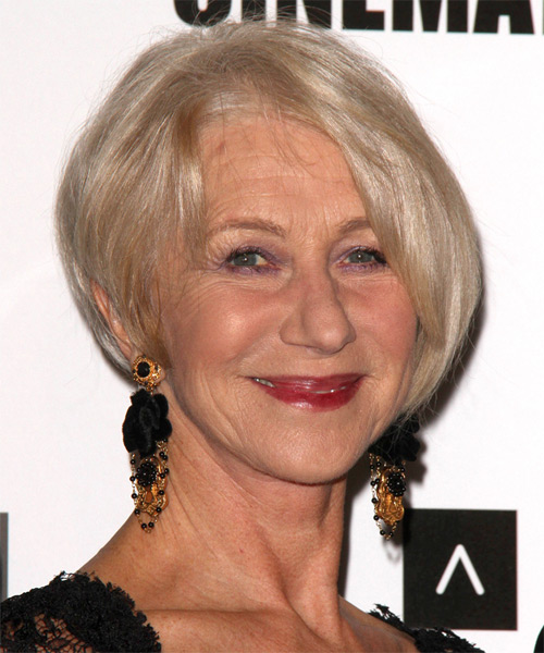 Helen Mirren Short Straight Formal Hairstyle - Light Blonde (Champagne) Hair Color - side view